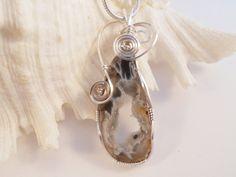 Druzy Jewelry Wire Wrapped Pendant  Black Brown & by elainesgems