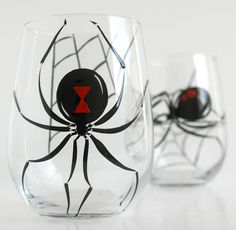 Black Widow Stemless Wine Glasses-Set of 2 Hand Painted Glasses by Mary Elizabeth Arts