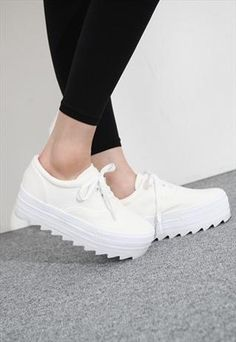 lace up Platform Trainer white from mancphoebe