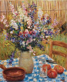"""Marcel Dreyfus """"Marcel Dyf"""" (1899-1985), Vaso di fiori e arance su una tovaglia a scacchi, Olio su tela."""