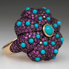 Carlo Viani Pink Sapphire Turquoise Cocktail Ring 14K Gold COLOR COMBO...
