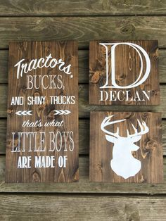Tractors, Bucks, and Shiny Trucks Thats What Little Boys Are Made Of - Rustic Wood Nursery Sign- Dee Hunting Theme Nursery, Deer Nursery, Wood Nursery, Nursery Signs, Nursery Themes, Rustic Nursery Boy, Nursery Ideas, Room Ideas, Country Boy Nurseries