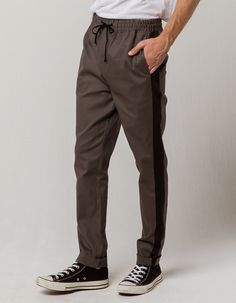 Elastic waistband with external drawstring. Side seam welt pockets with black strip down the leg. Welt pocket on back. Track Pants Mens, Loungewear Outfits, Striped Polo Shirt, Piece Of Clothing, Welt Pocket, Lounge Wear, Parachute Pants, Spandex, Cotton