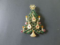 Mid Century ART Signed Gold Tone /& Multi Rhinestone Christmas Tree Brooch Pin Vintage Holiday Collectible Costume Jewelry Book Piece