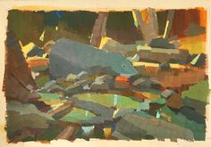 Angela Sung,  Switzer Falls Gouache Painting, Traditional Art, Art Inspo, Landscaping, Abstract Art, Fall, Illustration, Nature, Pintura