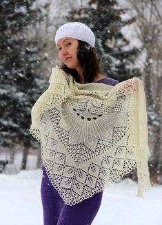This is amazing knitted shawl with lace pattern inspired by the designs of Herbert Niebling. A shawl is triangular, easy, romantic, and this one is one of kind for sure. Its made of very soft, lace weight Merino wool in ivory color. Size: 185/80 cm (73 / 31,5) Material: 100% Merino