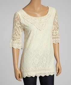 Another great find on #zulily! Beige Lace Three-Quarter Sleeve Tunic - Women #zulilyfinds