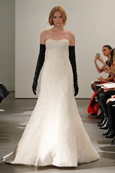 Vera Wang Spring 2014 Bridal Ivory corded rose lace strapless A-line gown with black web lace back detail