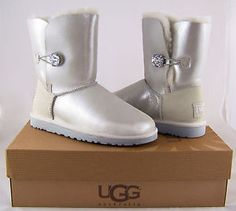UGG Australia Bailey Button Bling I Do! White Boots Womens 9 NEW IN BOX