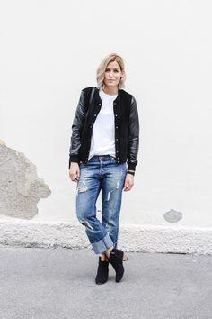 tifmys – Comme des Garcons shirt, Mango college leather jacket, H&M destroyed denim & Isabel Marant Dicker boots.