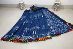 New collection of mul cotton pom pom lace sarees with blouse piece . Normal wash or dry clean.