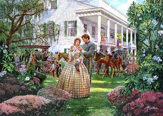 Magnolia Morning - Arlington Plantation, Providence, LA April 7, 1861 -  by Mort Künstler -