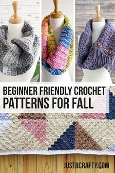 Sep 2019 - This post is a round-up of beginner friendly crochet patterns for fall! All projects are quick and easy and will defintely put you in a falls state of mind! Diy Crochet Scarf, Diy Crochet And Knitting, Chunky Crochet, Easy Crochet, Free Crochet, Crochet 101, Crocheted Hats, Crochet Hooks, Knitting Patterns