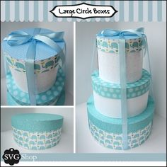 Make these stunning circle boxes to wrap your gifts in, they make great baby shower or wedding displays.  Formats: SVG cutting templates