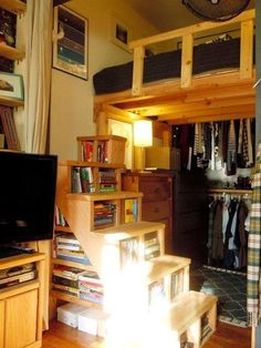 Build a Loft Space with Shelves as Stairs. Useful idea for the loft space in a yurt Tyni House, Tiny House Stairs, Loft Stairs, Bookcase Stairs, Staircase Storage, Bookshelves, Tiny Spaces, Small Apartments, Yurt Living