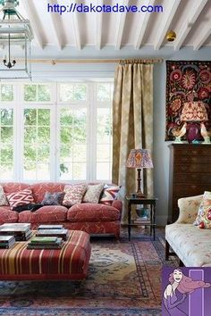 Blue Living Room with Red Sofa and Antique Textiles in Living Room Design Ideas. French country living room painted a soft blue with George Smith red sofa covered in a vibrant collection of cushions. Country Style Living Room, Country Style Homes, French Country House, Country Decor, French Cottage, English Country Style, Country Kitchen, Rustic Style, Home Design