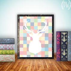 Deer silhouette printable wall art colorful par PrintableWisdom, $5.00