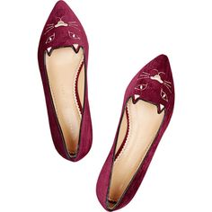 Charlotte Olympia Mid Century Kitty embroidered velvet point-toe flats (€450) ❤ liked on Polyvore featuring shoes, flats, flat shoes, burgundy flat shoes, pointy-toe flats, slip on shoes and embroidered flats