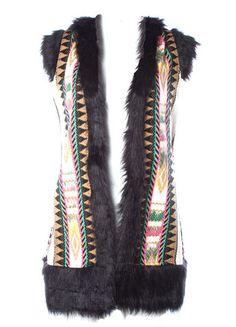 Judith March Long Jacquard Vest with Faux Fur Trim – DejaVu