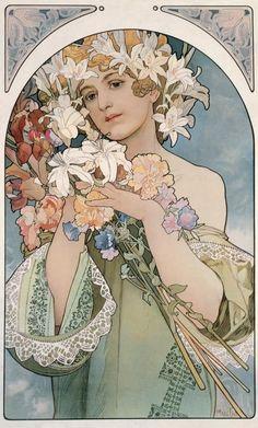 MUCHA (Alfons) Art Nouveau - Jugendstil: Tekening, Poster, Affiche, Reclame, Illustratie *Drawing, Advertising. ~Flower (1897)~