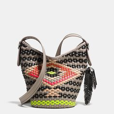 Mini Duffle in Woven Leather #Coach #Purses