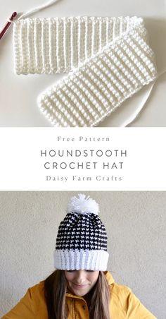 Free Pattern – Houndstooth Crochet Hat – Knitting For Beginners 2020 Crochet Adult Hat, Crochet Beanie Pattern, Crochet Kids Hats, Crochet Scarves, Crochet Crafts, Crochet Projects, Free Crochet, Knit Crochet, Crochet Patterns
