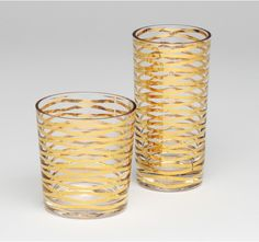 Gold Ribbon Tumblers. make these with rubber bands and gold paint