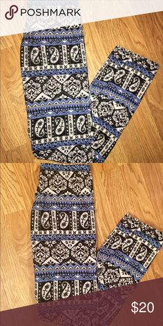 Lularoe Tc Leggings Blue Small Multi-colors W/ Irma 12-18 tunic