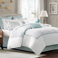 Drop by Bella Coastal Decor currently and explore our tremendous inventory of beach bedding, including this Full Size Ocean Breeze Comforter Set! Coastal Bedding, Coastal Bedrooms, Luxury Bedding, Beach Bedrooms, Coastal Curtains, Boho Bedding, Quilt Bedding, Master Bedrooms, Master Suite