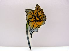 daffodils plastic brooch  Spring flowers illustrated by Floralchic, £6.50