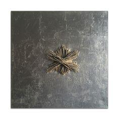 GIUSI LOISI artwork www.giusiloisi.it - ANNODANZE: corda cucita su tela con foglia d'argento - art: rope sewn on silver canvas - corde cousue sur toile argent.
