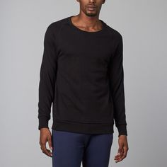 Modal French Terry Relaxed Neck Crew Sweater // Black