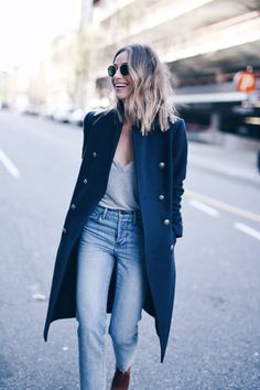 navy @aritzia coat, grey tee, jeans #streetstyle | THE AUGUST DIARIES