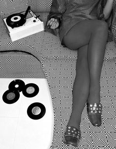 Mod Girl with 45's