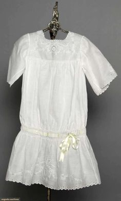 LITTLE GIRLS' DRESSES, 1900-1910 All cotton lawn w/ embroidery and/or lace insertions,