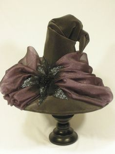 """Couture Witch Hat """"Stormy Sky""""  20.5"""" Gray and Amethyst, One of a Kind"""