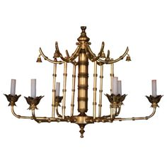 Faux Bamboo Pagoda Chandelier and it is brass! The best of both worlds! Chandelier Pendant Lights, Diy Chandelier, Modern Chandelier, Bamboo Chandelier, Faux Bamboo, Contemporary Lamps, Vintage Chandelier, Chandelier, Entry Lighting