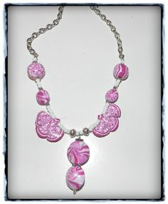 rose witte ketting fimo