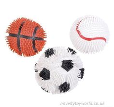 Rubber spike puffer balls in assorted sports ball designs. A soft and squeezable novelty measuring 11cm in diameter. Wholesale bulk buy from 192 units.