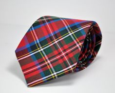 Red, Royal Blue and Hunter Green Tartan Plaid Mens Necktie  This 100% cotton flannel necktie is simple to care for. Perfect touch for holiday