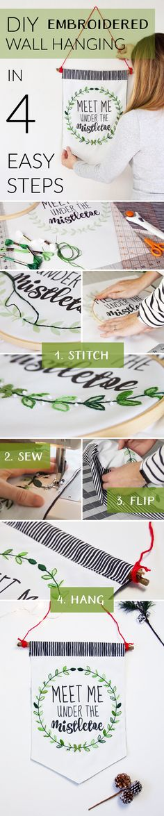 DIY Embroidered Fabric Wall Hanging for the Holidays - In this easy tutorial, Emma Jeffery of the blog Hello Beautiful will walk you through the steps to make your own DIY embroidered wall hanging for the holidays.  Click to see all of the steps with pictures, or watch the videos to see Emma's step by step instructions.  Make your own DIY embroidered wall hanging today!