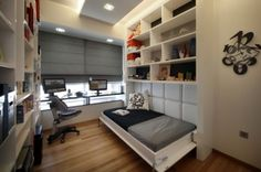 Murphy Bed Design, Pictures, Remodel, Decor and Ideas {Great Guest Room Design} Love the dark blinds and the padded back to the bed Small Bedroom Office, Dining Room Office, Extra Bedroom, Home Office, Small Office, Narrow Bedroom, Stylish Bedroom, Small Rooms, Small Apartments