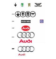 """Fondée en 1910, le premier logo de la marque est un 1 dans un triangle. C'est en 1932, qu'elle se lie à trois autres marques : DKW, Horch et Wanderer. Audi devient """"Auto Union"""" avec le logo aux 4 cercles. En 1934 Volksvagen rachète la """"Auto-Union"""" et Audi retrouve son nom initial: Audi. En 1969, Audi est liée à NSU et devient """"Audi NSU"""" avant de devenir """"Audi AG"""" en 1995"""