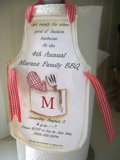 Apron Invitation - Perfect for Your Next BBQ or Cooking Party.
