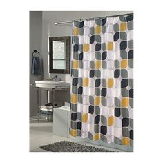 Carnation Home Fashions Metro Extra Long Printed Fabric Shower Curtain, 70-Inch by 84-Inch