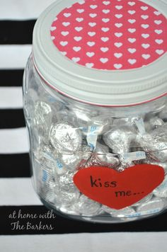 Valentine Candy Jar with Chocolate kisses! Homemade! #ValentinesDay