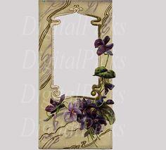 Vintage Purple Flower Frame Digital Clip Art PNG by DigitalPicks, $1.69