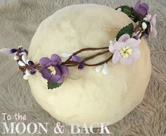 Purple & Lilac Rustic Woodland Floral Crown Halo Tieback Newborn Baby Photography Photo Prop by MoonandBackProps on Etsy