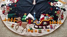 "60"" Hand made Wool Flannel Felt Bead Santa Reindeer Snowman CHRISTMAS TREE SKIRT #Unbranded"