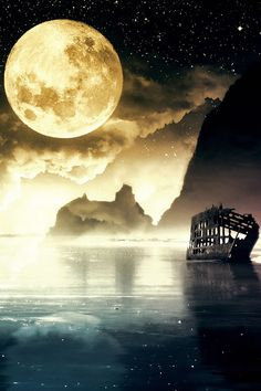 Image uploaded by BEAUTIFUL DESIRE. Find images and videos about night, moon and boat on We Heart It - the app to get lost in what you love. Beautiful Moon, Beautiful World, Beautiful Images, Foto Nature, All Nature, Sun Moon Stars, Moon Moon, Full Moon, Moon Sea